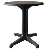 Grosfillex US284744 Omega 28 inch Round Dark Concrete Table with Charcoal Base