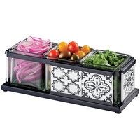 Cal-Mil 4031-3-85 Granada Condiment Organizer with 3 Glass Jars and Melamine Tile - 13 inch x 5 inch x 4 1/4 inch