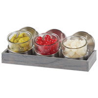 Cal-Mil 1850-4-83 Mixology Ashwood Three 16 oz. Jar Display with Cooling Bases and Metal Lids - 14 1/4 inch x 6 inch x 5 inch
