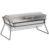 Cal-Mil 4118 Stainless Steel Full Size Chafer with Lid / Black Wire Stand - 25 inch x 13 inch x 12 inch