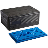 CaterGator Dash Black Full Size EPP Flip Down Top Loading Insulated Food Pan Carrier with Blue Ice Board