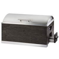 Cal-Mil 3828-87 Cinderwood 8 Qt. Full-Size Chafer with Stainless Steel Lid, Fuel Holder, and Easy Access Drawer - 22 inch x 14 inch x 13 1/2 inch