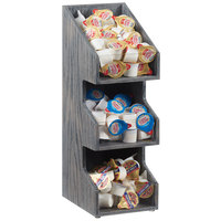 Cal-Mil 2053-83 Ashwood Gray Oak 3-Tier Condiment Display - 6 1/2 inch x 5 1/2 inch x 15 1/2 inch