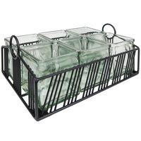 Cal-Mil 4101-6-13 Portland Black Condiment Organizer with 6 Glass Jars - 12 1/2 inch x 8 1/2 inch x 5 1/4 inch