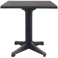 Grosfillex US285744 Omega 32 inch Square Dark Concrete Table with Charcoal Base