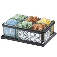 Cal-Mil 4031-6-85 Granada Condiment Organizer with 6 Glass Jars and Melamine Tile - 13 inch x 9 1/4 inch x 4 1/4 inch