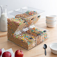 Choice 11 inch x 4 inch x 11 inch Stackable Candy / Topping Dispensers with Scoop Holsters   - 3/Set