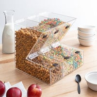 Choice 11 inch x 4 inch x 11 inch Stackable Candy / Topping Dispensers with Notches   - 3/Set