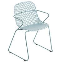 Grosfillex US136711 Ramatuelle '73 Bleu Ether Stackable Indoor / Outdoor Armchair