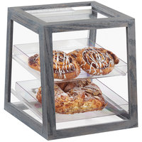 Cal-Mil 3832-83 Ashwood Gray Oak 2-Tier Removable Tray Display Case - 12 1/4 inch x 11 1/2 inch x 12 1/2 inch