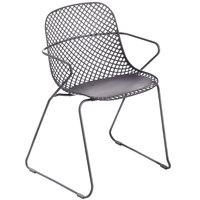Grosfillex US136713 Ramatuelle '73 Gris Pavement Stackable Indoor / Outdoor Armchair