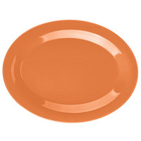 GET OP-950-PK Pumpkin Diamond Harvest 9 3/4 inch x 7 1/4 inch Oval Platter - 24/Case