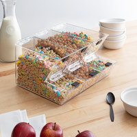 Choice 11 inch x 4 inch x 7 inch Stackable Candy / Topping Dispensers with Notches   - 3/Set