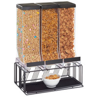 Cal-Mil 4108-13 Portland Black 3-Compartment Cereal Dispenser - 16 inch x 9 inch x 23 1/2 inch