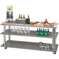 Cal-Mil 3698-4-83 Ashwood Gray Oak 3-Shelf U-Build Service Cart - 48 inch x 24 inch x 44 inch