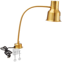 Avantco HL24GDC 24 inch Gold Single Arm Stainless Steel Heat Lamp with Avantco PCLMPSS Stainless Steel Clamp - 120V, 250W