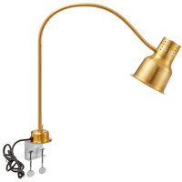 Avantco HL39GDC 39 inch Gold Single Arm Stainless Steel Heat Lamp with Avantco PCLMPSS Stainless Steel Clamp - 120V, 250W