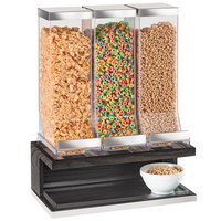 Cal-Mil 3823-87 Cinderwood 3 Compartment Dark Oak Wood Cereal Dispenser - 17 1/2 inch x 9 1/2 inch x 24 inch