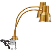 Avantco HLD24GDC 24 inch Gold Dual Arm Stainless Steel Heat Lamp with Avantco PCLMPSS Stainless Steel Clamp - 120V, 500W