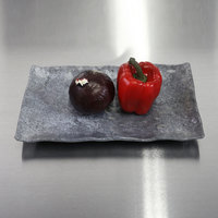 Elite Global Solutions D71238RC-CO Basalt 12 inch x 7 inch Coal Rectangular Melamine Plate - 6/Case