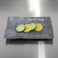 Elite Global Solutions D61014RC-CO Basalt 10 1/4 inch x 6 1/2 inch Coal Rectangular Melamine Plate   - 6/Case