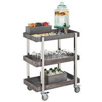 Cal-Mil 3834-83 Ashwood Gray Oak 3-Tier Beverage Cart - 31 inch x 20 1/4 inch x 39 1/4 inch