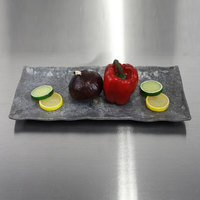 Elite Global Solutions D61215RC-CO Basalt 15 3/8 inch x 6 1/2 inch Coal Rectangular Melamine Plate - 6/Case