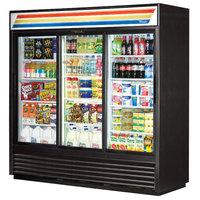 True GDM-69-LD 78 inch Three Section Sliding Glass Door Black Merchandising Refrigerator with LED Lighting - 69 Cu. Ft.