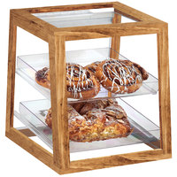 Cal-Mil 3832-99 Madera Rustic Pine 2-Tier Removable Tray Display Case - 12 1/4 inch x 11 1/2 inch x 12 1/2 inch
