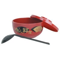 Thunder Group PLNB001 30 oz. Red Plastic Noodle Bowl With Lid and Ladle