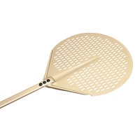 GI Metal AV-32F Gold 13 inch Anodized Aluminum Round Perforated Pizza Peel with 59 inch Handle
