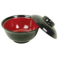 Thunder Group 3222JBR 10 oz. Two Tone Melamine Miso Bowl With Lid   - 12/Pack