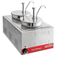 Avantco 12 inch x 20 inch Full Size Electric Countertop Food Warmer / Topping Station with 2 Condiment Pumps - 120V, 1200W