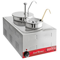 Avantco 12 inch x 20 inch Full Size Electric Countertop Food Warmer / Topping Station with 1 Condiment Pump & (1) 4 Qt. Inset with Lid and 1 (3 oz.) Ladle - 120V, 1200W