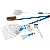 GI Metal PRO32F Azzurra Professional 7 Piece Pizza Kit with 13 inch and 8 inch Perforated Peels