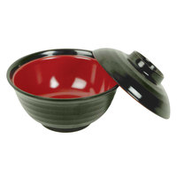 Thunder Group 3221JBR 8 oz. Two Tone Melamine Miso Bowl With Lid   - 12/Pack