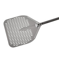 GI Metal ACB-41RF Carbon 16 inch Anodized Aluminum Square Perforated Pizza Peel with 59 inch Handle