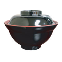 Thunder Group 3223JBR 16 oz. Two Tone Melamine Miso Bowl With Lid   - 12/Pack