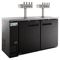 Avantco UDD-60-HC (2) Four Tap Shallow Depth Kegerator Beer Dispenser - Black, (2) 1/2 Keg Capacity