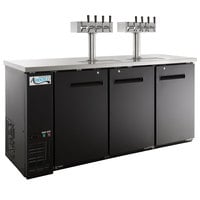 Avantco UDD-72-HC (2) Four Tap Shallow Depth Kegerator Beer Dispenser - Black, (3) 1/2 Keg Capacity