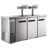 Avantco UDD-72-HC-S (2) Four Tap Kegerator Beer Dispenser - Stainless Steel, (3) 1/2 Keg Capacity