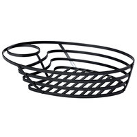 GET WB-1060-MG Fuse 9 3/4 inch x 6 3/4 inch Oval Metal Gray Wire Basket with Sauce Cup Holder