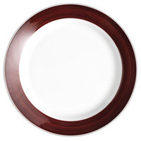 Syracuse China 999025149 Banded Rigel Constellation 10 1/4 inch Lunar Bright White Porcelain Plate with Apple Butter Solid Band - 12/Case