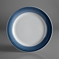 Syracuse China 999024149 Banded Rigel Constellation 10 1/4 inch Lunar Bright White Porcelain Plate with Steel Blue Solid Band - 12/Case