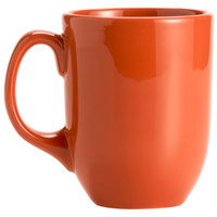 Syracuse China 903045904 Cantina 11 oz. Cayenne Uncarved Porcelain Mug - 12/Case