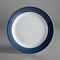 Syracuse China 999024139 Banded Rigel Constellation 9 inch Lunar Bright White Porcelain Plate with Steel Blue Stripes - 24/Case
