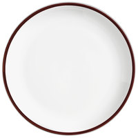 Syracuse China 999025150 Banded Rigel Constellation 9 inch Lunar Bright White Porcelain Pellet Plate with Apple Butter Solid Band - 24/Case