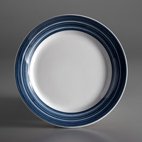 Syracuse China 999024118 Banded Rigel Constellation 6 3/8 inch Lunar Bright White Porcelain Plate with Steel Blue Stripes - 36/Case