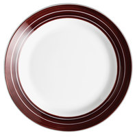 Syracuse China 999025139 Banded Rigel Constellation 9 inch Lunar Bright White Porcelain Plate with Apple Butter Stripes - 24/Case