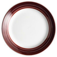 Syracuse China 999025118 Banded Rigel Constellation 6 3/8 inch Lunar Bright White Porcelain Plate with Apple Butter Stripes - 36/Case